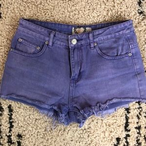 Purple high waisted jean shorts